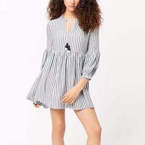 Forever 21 Striped Split Neck Tassels Mini Dress